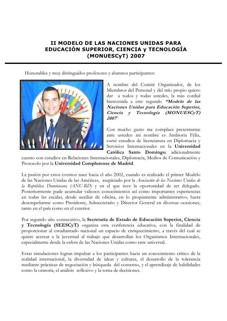 II MODELO DE LAS NACIONES UNIDAS PARA             EDUCACIÓN SUPERIOR, CIENCIA y TECNOLOGÍA                        (MONUESC...