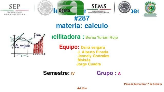 Centro bachillerato tecnológico agropecuario #287 materia: calculo Facilitadora : Berna Yurian Rojo Equipo: Daira vergara ...