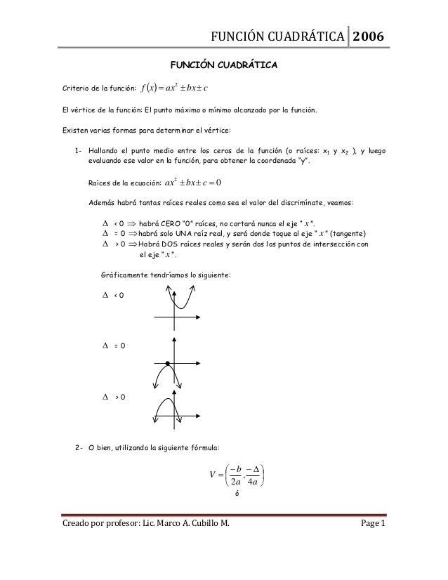 FUNCIÓN CUADRÁTICA 2006 FUNCIÓN CUADRÁTICA Criterio de la función:  f x  ax2  bx  c  El vértice de la función: El pun...