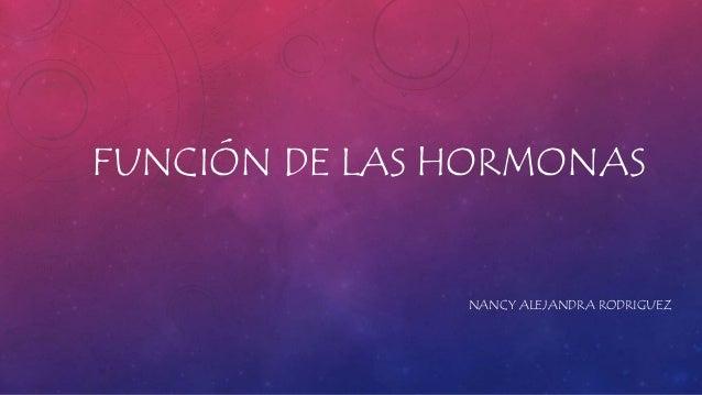 FUNCIÓN DE LAS HORMONAS NANCY ALEJANDRA RODRIGUEZ