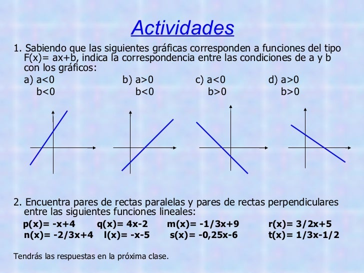 Actividades <ul><li>1. Sabiendo que las siguientes gráficas corresponden a funciones del tipo F(x)= ax+b, indica la corres...