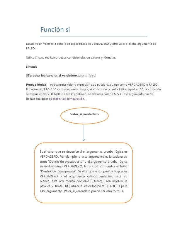 Función si Devuelve un valor si la condición especificada es VERDADERO y otro valor si dicho argumento es FALSO. Utilice S...