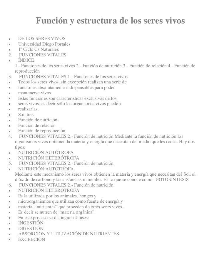 Función y estructura de los seres vivos       DE LOS SERES VIVOS       Universidad Diego Portales       1º Ciclo Cs Natura...