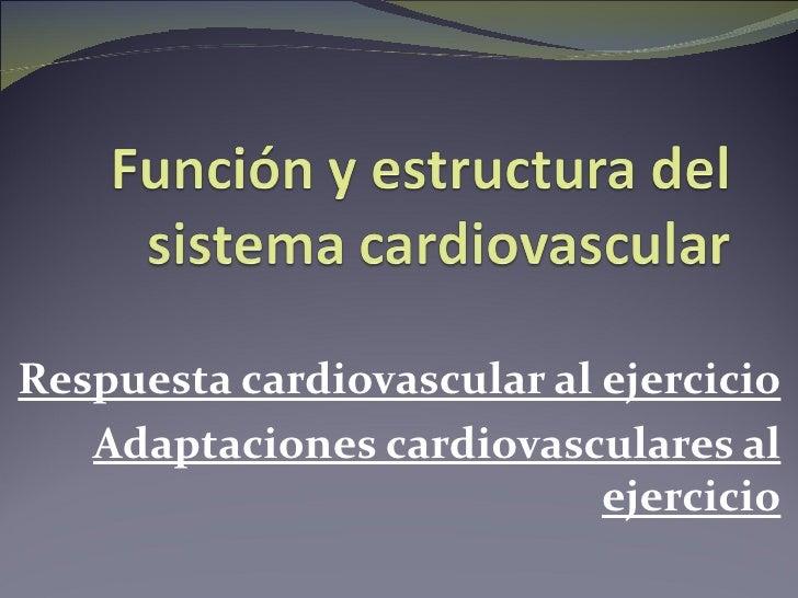 Respuesta cardiovascular al ejercicio   Adaptaciones cardiovasculares al                            ejercicio