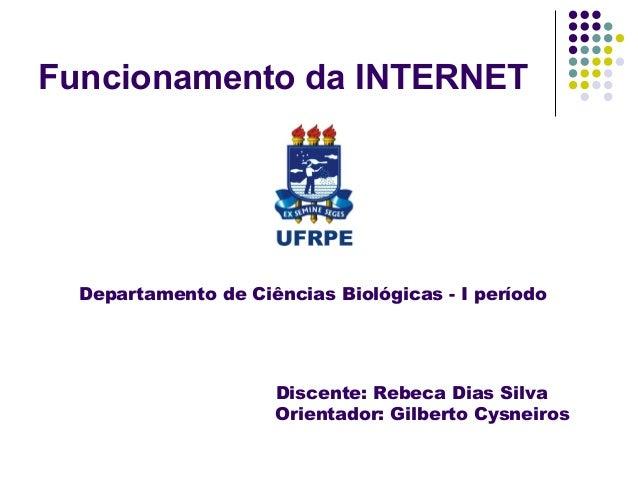 Funcionamento da INTERNET  Departamento de Ciências Biológicas - I período                     Discente: Rebeca Dias Silva...