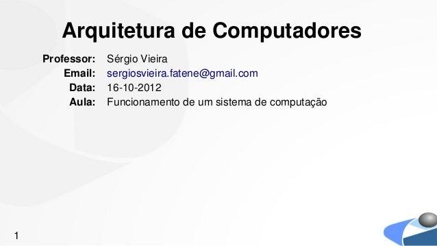 Arquitetura de Computadores    Professor:   Sérgio Vieira        Email:   sergiosvieira.fatene@gmail.com         Data:   1...