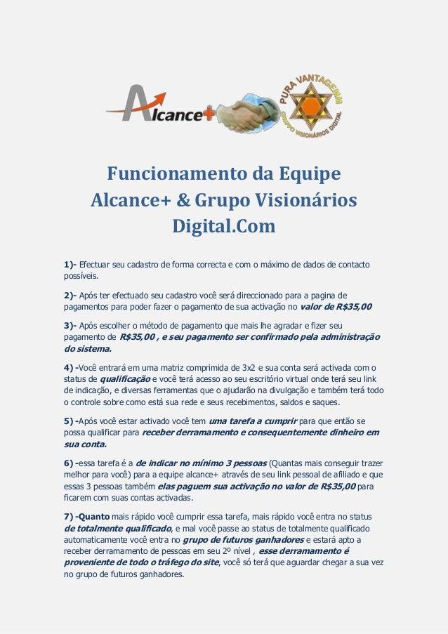 Funcionamento da Equipe Alcance+ & Grupo Visionários Digital.Com 1)- Efectuar seu cadastro de forma correcta e com o máxim...