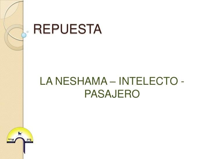 REPUESTALA NESHAMA – INTELECTO -       PASAJERO