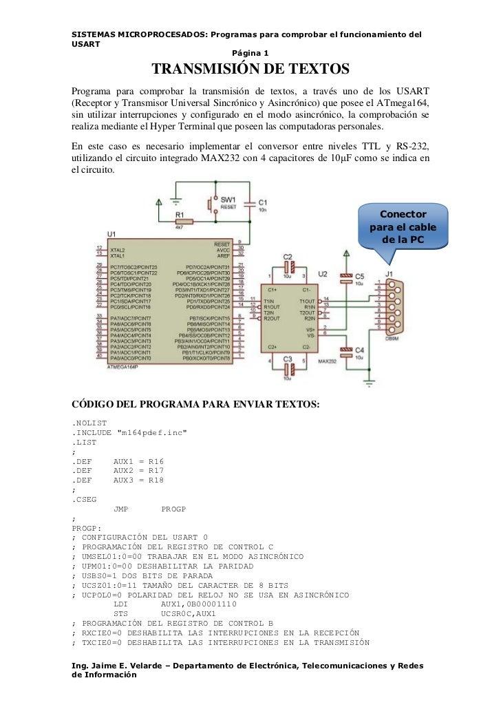 SISTEMAS MICROPROCESADOS: Programas para comprobar el funcionamiento delUSART                              Página 1       ...