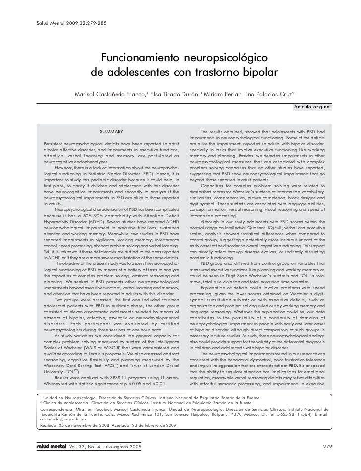 Salud Mental 2009;32:279-285 Funcionamiento neuropsicológico de adolescentes con trastorno bipolar                        ...