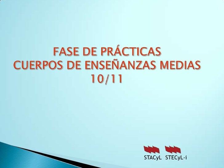 FASE DE PRÁCTICASCUERPOS DE ENSEÑANZAS MEDIAS 10/11<br />STECyL-i<br />STACyL<br />