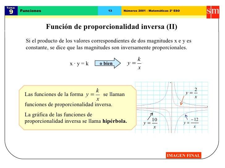 Tema:  9 Funciones 13 Números 2001 - Matemáticas 2º ESO Función de proporcionalidad inversa (II) Si el producto de los val...