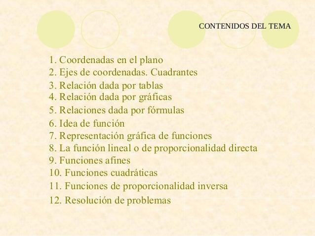 CONTENIDOS DEL TEMA1. Coordenadas en el plano2. Ejes de coordenadas. Cuadrantes3. Relación dada por tablas4. Relación dada...