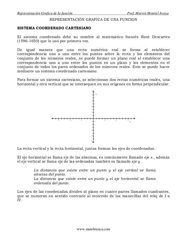 Representación Grafica de la función Prof. Marvin Montiel ArayaREPRESENTACIÓN GRAFICA DE UNA FUNCIONSISTEMA COORDENADO CAR...