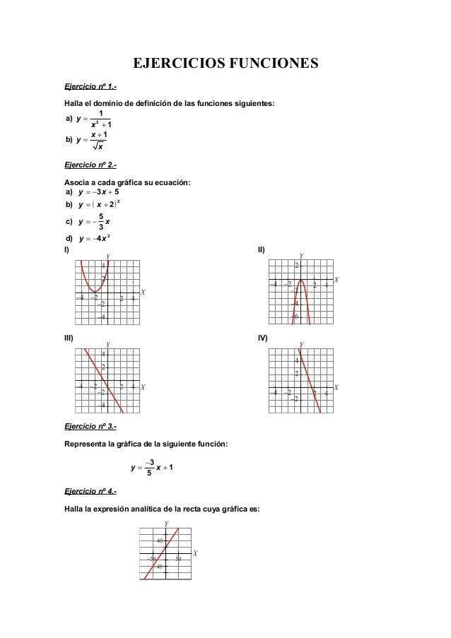 EJERCICIOS FUNCIONES Ejercicio nº 1.- Halla el dominio de definición de las funciones siguientes: 1 1 a) 2 + = x y x x y 1...