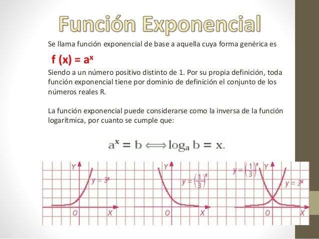 Se llama función exponencial de base a aquella cuya forma genérica es f (x) = ax Siendo a un número positivo distinto de 1...