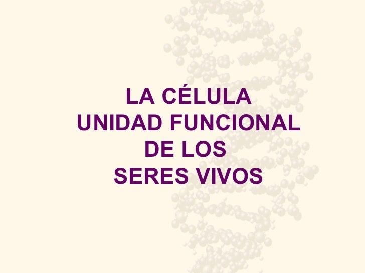 LA CÉLULA UNIDAD FUNCIONAL DE LOS  SERES VIVOS