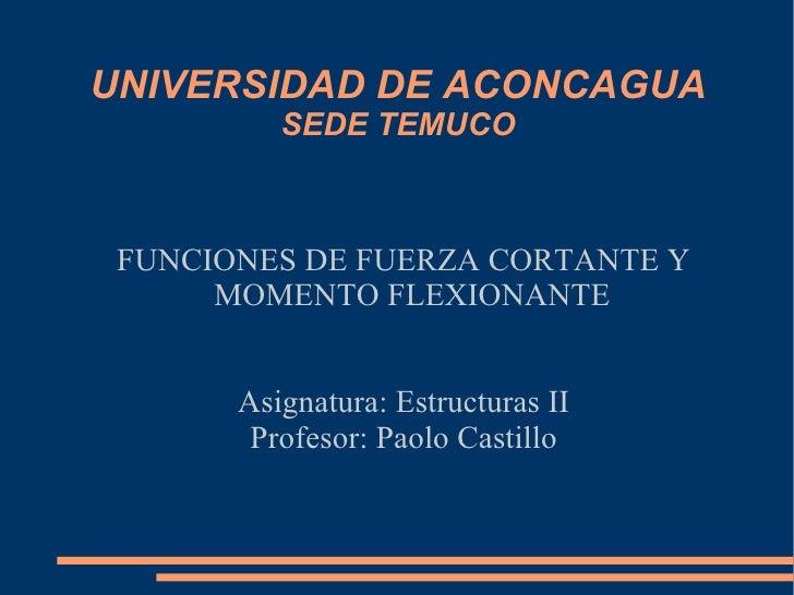 UNIVERSIDAD DE ACONCAGUA SEDE TEMUCO FUNCIONES DE FUERZA CORTANTE Y MOMENTO FLEXIONANTE Asignatura: Estructuras II Profeso...
