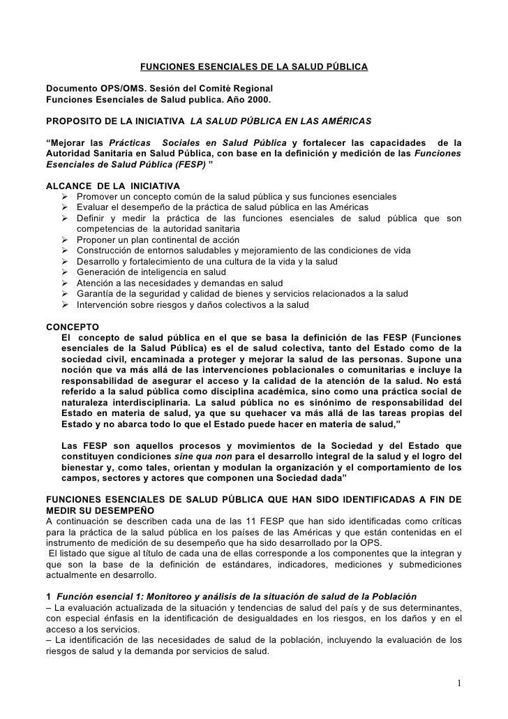 FUNCIONES ESENCIALES DE LA SALUD PÚBLICADocumento OPS/OMS. Sesión del Comité RegionalFunciones Esenciales de Salud publica...