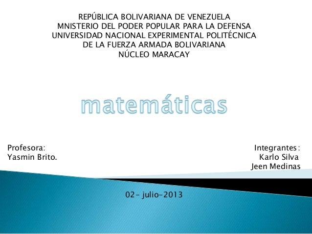 REPÚBLICA BOLIVARIANA DE VENEZUELA MNISTERIO DEL PODER POPULAR PARA LA DEFENSA UNIVERSIDAD NACIONAL EXPERIMENTAL POLITÉCNI...