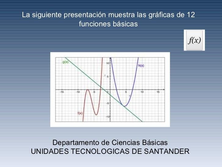 La siguiente presentación muestra las gráficas de 12 funciones básicas Departamento de Ciencias Básicas UNIDADES TECNOLOGI...