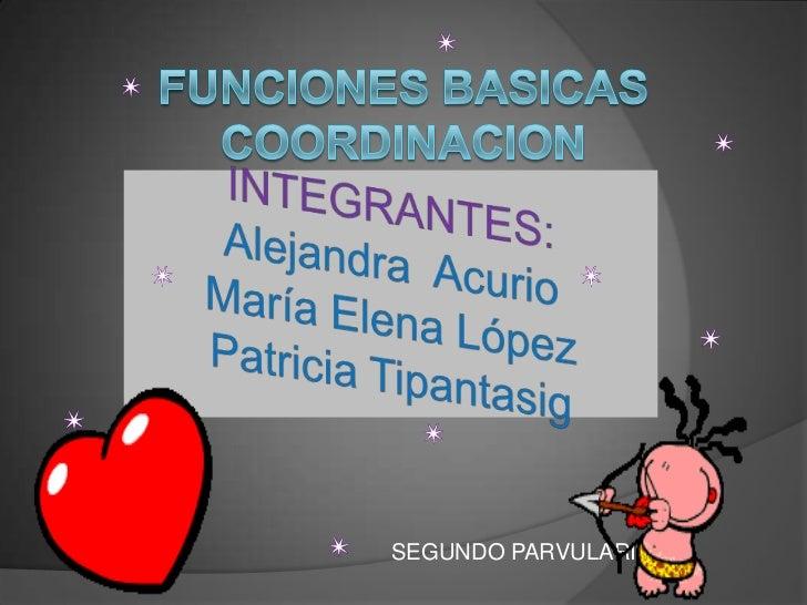 FUNCIONES BASICASCOORDINACION VISONOTORA<br />INTEGRANTES:Alejandra  AcurioMaría Elena López Patricia Tipantasig <br />SEG...