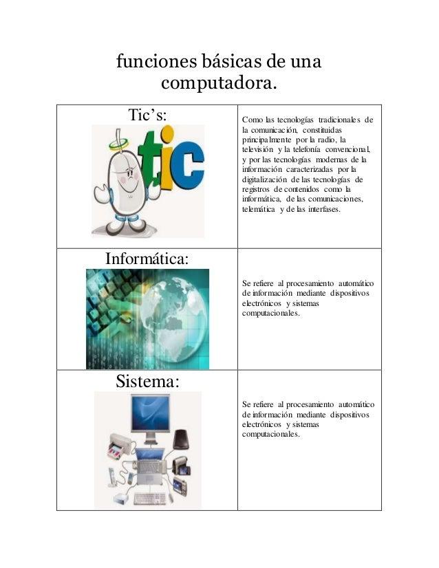 funciones básicas de una  computadora.  Tic's:  Como las tecnologías tradicionales de  la comunicación, constituidas  prin...