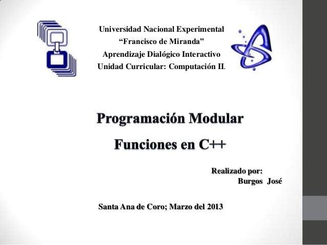 """Universidad Nacional Experimental     """"Francisco de Miranda"""" Aprendizaje Dialógico InteractivoUnidad Curricular: Computaci..."""