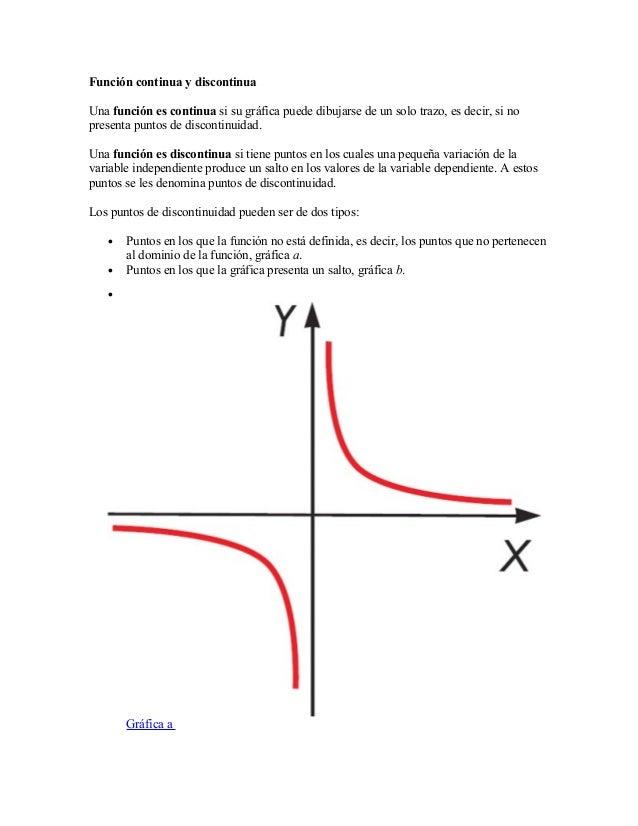 Función continua y discontinua Una función es continua si su gráfica puede dibujarse de un solo trazo, es decir, si no pre...