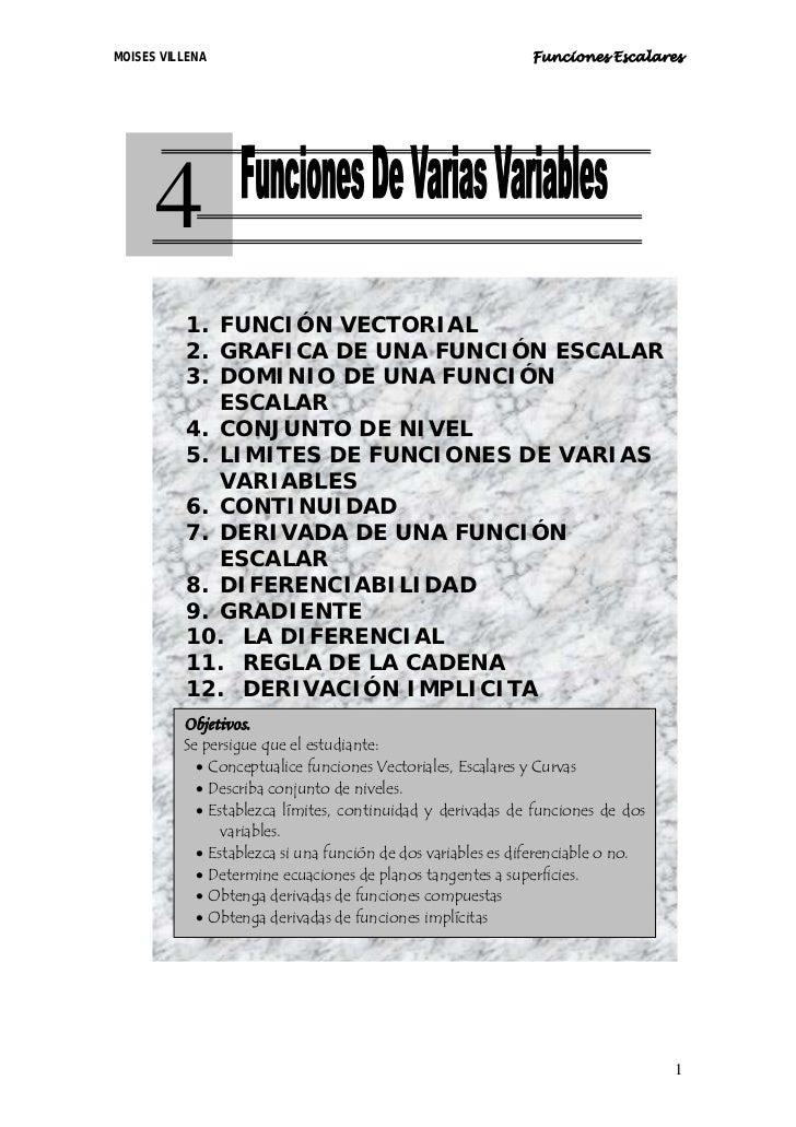 MOISES VILLENA                                                Funciones Escalares           4         1. FUNCIÓN VECTORIAL...