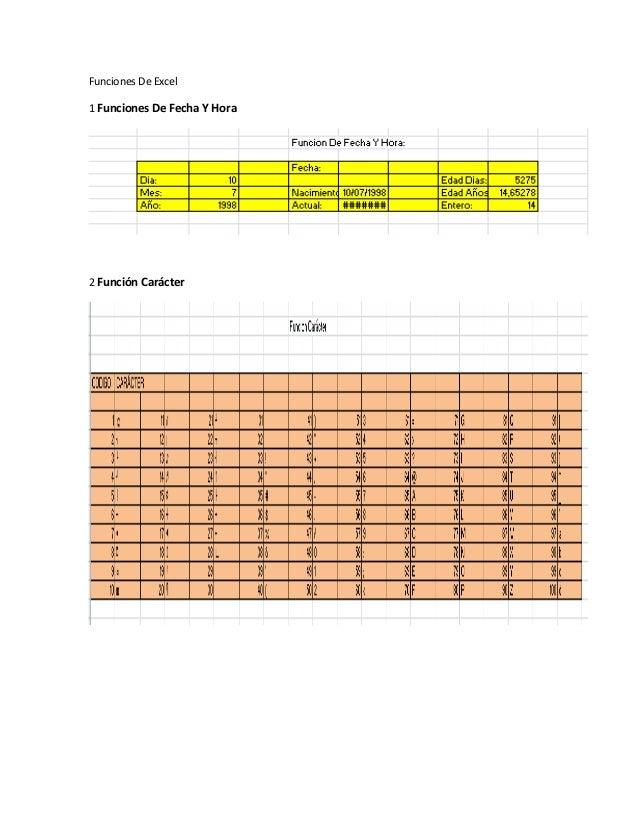 Funciones De Excel1 Funciones De Fecha Y Hora2 Función Carácter