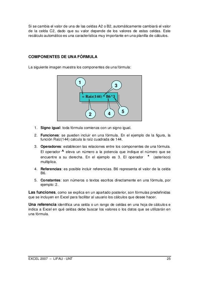 EXCEL 2007 – LIFAU - UNT 25 Si se cambia el valor de una de las celdas A2 o B2, automáticamente cambiará el valor de la ce...