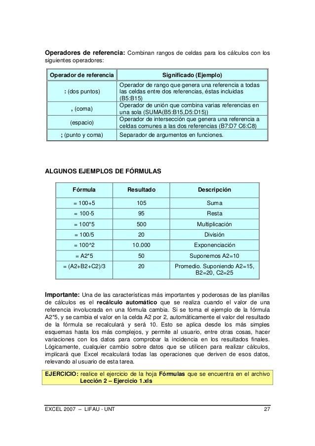 EXCEL 2007 – LIFAU - UNT 27 Operadores de referencia: Combinan rangos de celdas para los cálculos con los siguientes opera...