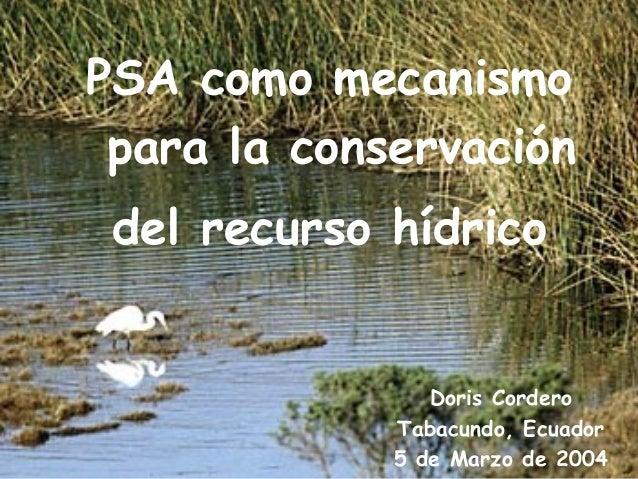 PSA como mecanismo para laelconservación Pasos para desarrollo de un esquema de cobro y hídrico del recurso PSA hídrico  D...