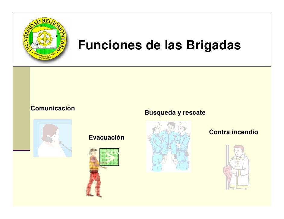Funciones de las Brigadas    Comunicación                              Búsqueda y rescate                                 ...