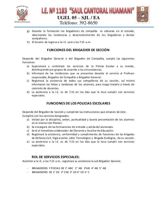 Funciones del brigadier y policia escolar de ie 1183 sch