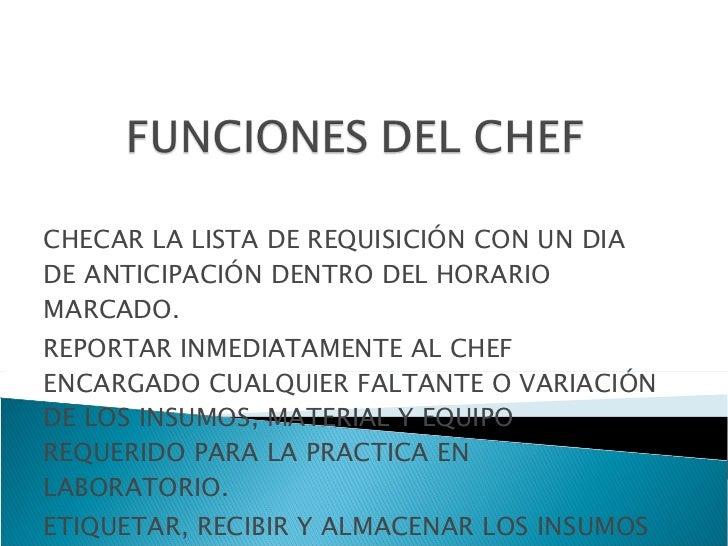Funciones del chef for Manual de funciones y procedimientos de un restaurante