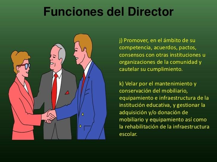 Funciones del director for Funcion de un vivero escolar