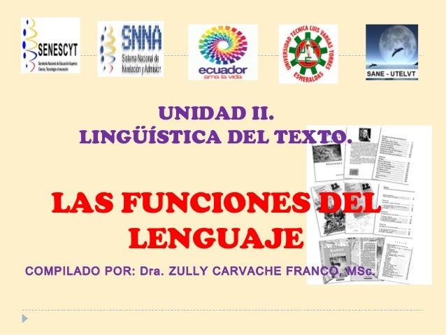 UNIDAD II.LINGÜÍSTICA DEL TEXTO.LAS FUNCIONES DELLENGUAJECOMPILADO POR: Dra. ZULLY CARVACHE FRANCO, MSc.