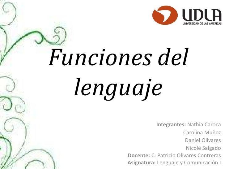 Funciones del  lenguaje                   Integrantes: Nathia Caroca                               Carolina Muñoz         ...