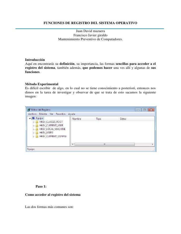 FUNCIONES DE REGISTRO DEL SISTEMA OPERATIVO                                 Juan David mazuera                            ...