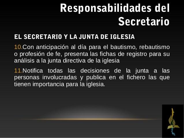 Responsabilidades del                           SecretarioACTITUDES Y         HÁBITOS      DE    UN    SECRETARIORESPONSAB...