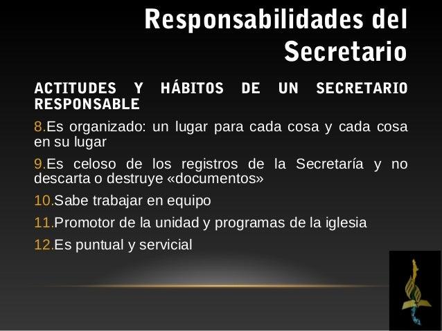 Responsabilidades del                           SecretarioEL SECRETARIO Y LA CEREMONIA DE CASAMIENTOTiene las siguientes r...