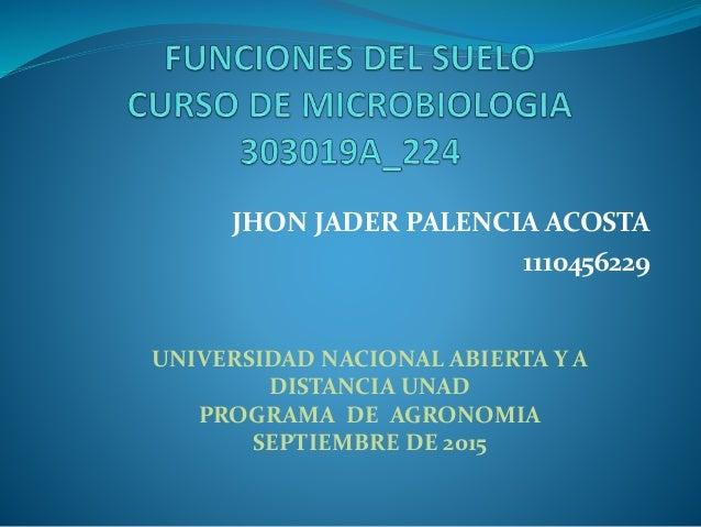 JHON JADER PALENCIA ACOSTA 1110456229 UNIVERSIDAD NACIONAL ABIERTA Y A DISTANCIA UNAD PROGRAMA DE AGRONOMIA SEPTIEMBRE DE ...
