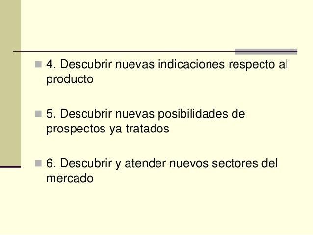  4. Descubrir nuevas indicaciones respecto al producto  5. Descubrir nuevas posibilidades de prospectos ya tratados  6....