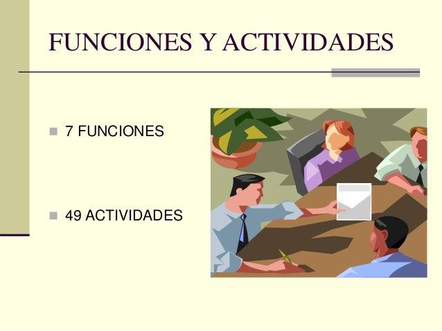 FUNCIONES Y ACTIVIDADES  7 FUNCIONES  49 ACTIVIDADES