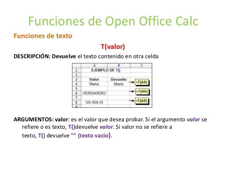 Funciones de Open Office CalcFunciones de texto                                T(valor)DESCRIPCIÓN: Devuelve el texto cont...