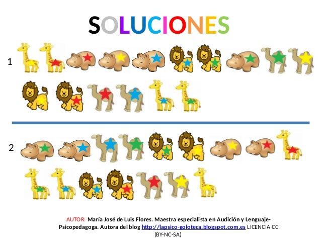 SOLUCIONES 1 2 AUTOR: María José de Luis Flores. Maestra especialista en Audición y Lenguaje- Psicopedagoga. Autora del bl...