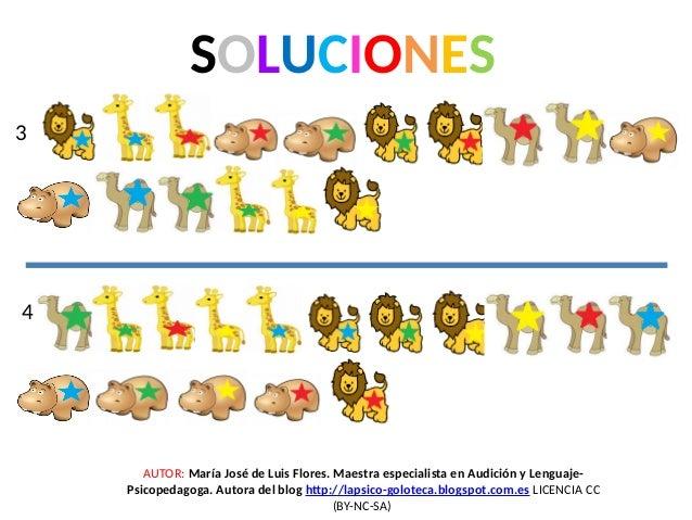 SOLUCIONES 3 4 AUTOR: María José de Luis Flores. Maestra especialista en Audición y Lenguaje- Psicopedagoga. Autora del bl...