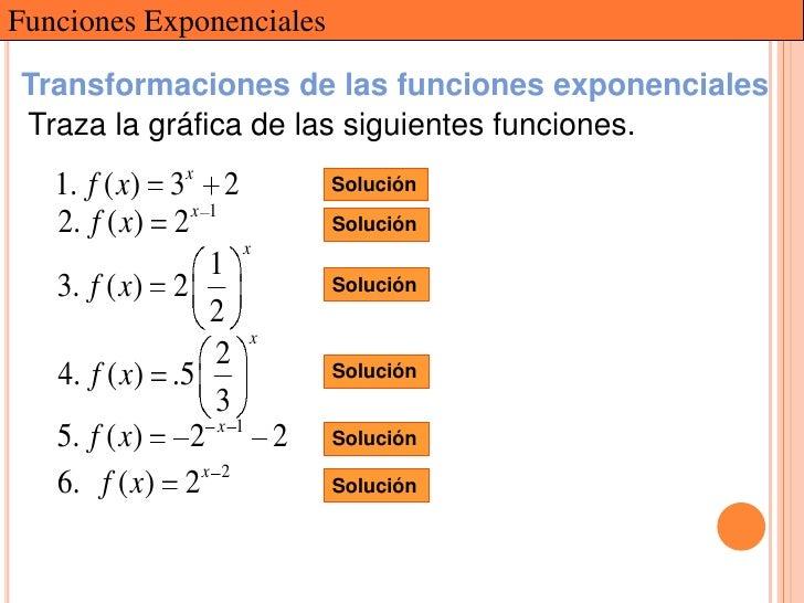 Funciones ExponencialesTransformaciones de las funciones exponencialesTraza la gráfica de las siguientes funciones.   1. f...